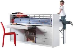 Vipack 'Jax' Funktionsbett weiß/grau inkl. Schreibtisch