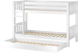 Erst-Holz Etagenbett Kiefer 90x200 cm inkl. Gästebettkasten, weiß