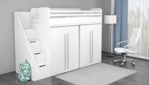 Polini 'City' Hochbett Kombination mit 2 Schränken in weiß