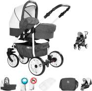 Friedrich Hugo Berlin | 2 in 1 Kombi Kinderwagen | Luftreifen | Farbe: Dark Grey and White Day