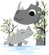 Lilipinso Wandsticker XL Familie Rhino im Wasser