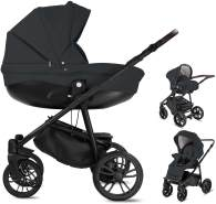 Friedrich Hugo PCS_FH-FLOW-DE-GEL-BTN-10-PIK Minigo Flow, 3 in 1 Kombi Kinderwagen Gelreifen Dark Grey, grau