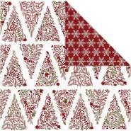 Design-Papier, Blatt 30,5x30,5 cm, 180 g, Weiß, Gold, Rot, Weihnachtsbäume Eissterne , 3Bl.
