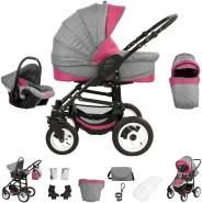 Bebebi Florenz | Hartgummireifen in Weiß | 3 in 1 Kombi Kinderwagen | Farbe: Davanzati Pink Black