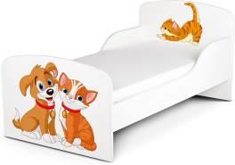 Leomark Kinderbett 70x140 cm, Hunde und Katze, mit Matratze und Lattenrost