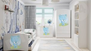 Mirjan24 'Baby Dreams' 4-tlg. Kinderzimmer-Set 70x140 cm, Weiß / Bär