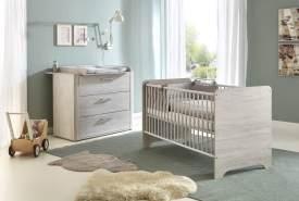Arthur Berndt 'Leon' Babyzimmer Sparset 2-teilig, Kinderbett (70 x 140 cm) und Wickelkommode mit Wickelaufsatz Light Wood