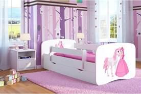 Kocot Kids 'Prinzessin und Pferd' Einzelbett weiß 90x180 cm inkl. Rausfallschutz, Matratze, Schublade und Lattenrost