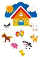 goki Mobile Farm (10-tlg.) - Baby-Spielzeug aus lackiertem Holz mit Bauernhof-Motiven - Hingucker fürs Kinderzimmer - ideal für Babys ab Geburt