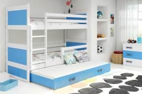 Stylefy Lora mit Extrabett Etagenbett 80x190 cm Weiß Blau