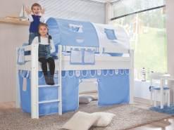 Relita Halbhohes Spielbett ALEX Buche massiv weiß lackiert mit Stoffset blau/boy