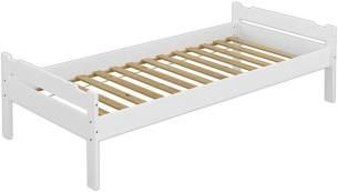 Erst-Holz Einzelbett weiß, 90x200 cm, Kiefer massiv, inkl. Rollrost