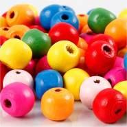 Holzperlen Mix, D: 10 mm, Lochgröße 2,5-3 mm, Sortierte Farben, 22g, ca. 70 sort.
