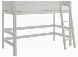 LIFETIME KIDSROOMS Lifetime Hochbett 90 x 200 cm inkl. Rollrost und schräger Leiter Grey Wash