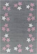 Livone Kinderteppich Happy Rugs BORDERSTAR silbergrau/rosa 120x180 cm
