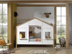 Vipack 'BABS' Landhausbett 90 x 200 cm, Oak/Weiß, inkl. Lattenrost, teilmassiv Kiefer