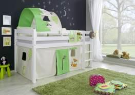 Relita Halbhohes Spielbett ALEX Buche massiv weiß lackiert mit Stoffset Vorhang, 1-er Tunnel und Tasche