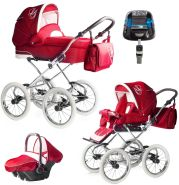 Bebebi Loving | 4 in 1 Kombi Kinderwagen | ISOFIX Set | Farbe: Red Tender