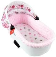 BABYLUX Spannbettlaken für Kinderwagen Spannbetttuch Bettlaken 93. Sterne Rosa