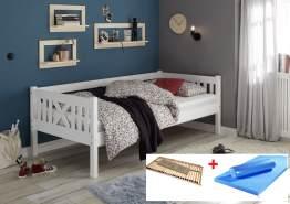 Bega 'Trevi' Kinderbett 90x200 cm, weiß, Kiefer massiv, inkl. Lattenrost und Matratze (blau)