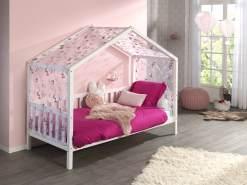 Vipack 'Dallas 1' Hausbett mit seitlicher Umrandung 90 x 200 cm weiß und Textilhimmel