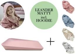 Leander Matty Wickelauflage + Hoodie Kapuzenhandtuch Soft Pink Cool Grey