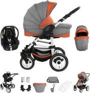 Bebebi Florenz | 3 in 1 Kinderwagen Set mit Original Maxi Cosi Gummi Spirito Orange White