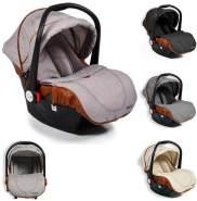 Moni Kindersitz Babyschale Alma Gruppe 0+ (0 - 13 kg) Adapter, Fußabdeckung Dach hellgrau