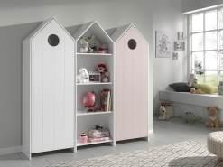 Vipack 'Casami' 3-tlg. Schrank weiß, pink, mit 12 Ablagefächern und 2 Türen