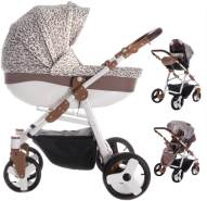 Friedrich Hugo Easy Comfort | 3 in 1 Kombi Kinderwagen Komplettset | Farbe: Gold & Leo Fabric
