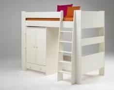 Steens Hochbett mit Kleiderschrank, MDF weiß lackiert