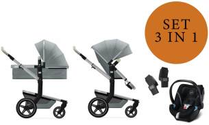 Joolz 'Day+' Kombikinderwangen 3in1 2020 in Gentle Blue, inkl. Cybex Aton 5 Babyschale in Soho Grey