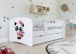 Kinderbett Jugendbett Weiß mit Rausfallschutz Schublade und Lattenrost Kinderbetten für Mädchen und Junge - Panda 80 x 180 cm