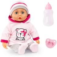 Bayer Design 93824BR Funktionspuppe, Babypuppe First Words mit Schlafaugen, 24 Babylaute, 38 cm, weicher Körper, mit Zubehör