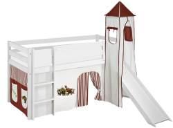 Lilokids 'Jelle' Spielbett 90 x 190 cm, Dinos Braun Beige, Kiefer massiv, mit Turm, Rutsche und Vorhang