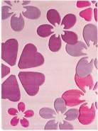 Misento 'Rosa Blumen' Kinderteppich 60x115 cm