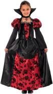 Magicoo Halloween Vampir Kostüm für Kinder Mädchen - Vampirkostüm, rot/schwarz, Gr. 130-140