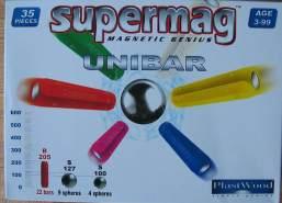 Supermag Magnet-Spiel UNIBAR 35 tlg (Farbe: Weiß)