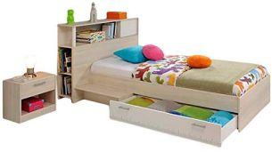 Funktionsbett 90*200 grau inkl. Kopfteil(regal) Anstellregal + Bettkasten + Nachtkommode Kinderbett Jugendbett Jugendliege Bett Jugendzimmer
