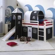 Kinderbett Hochbett Spielbett Kiefer Massiv Pirat weiß + Rutsche Turm