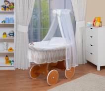 WALDIN Stubenwagen-Set mit Ausstattung Gestell/Räder natur lackiert, Ausstattung weiß/weiß