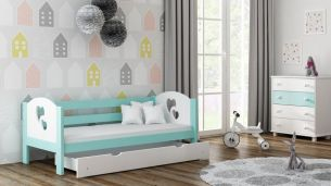 Kinderbettenwelt 'Felicita F3' Kinderbett 80x180 cm, Mint, inkl. Matratze, Schublade und Rausfallschutz