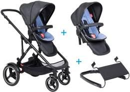 phil&teds voyager Kinderwagen - 3 für 1 Vorteilspaket Sky