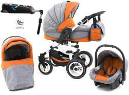 Tabbi ECO LN | 4 in 1 Kombi Kinderwagen | Hartgummireifen | Farbe: Orange