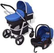 vidaXL 3-in-1 Kinderwagen Aluminium Blau und Schwarz