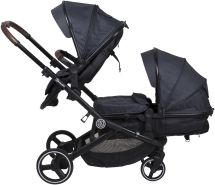 BabyGO 'Twinner' Geschwisterwagen 3 in 1 grey