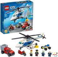 LEGO City 60243 'Verfolgungsjagd mit dem Polizeihubschrauber', 212 Teile, ab 5 Jahren, inkl. Quad, Motorrad, Pickup und 4 Minifiguren