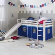Hochbett Spielbett Kinderbett Rutsche Kiefer Vorhang blau 90x200 Jugendbett