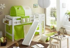 Ticaa 'Tino' Halbhochbett weiß, inkl. Vorhang grün