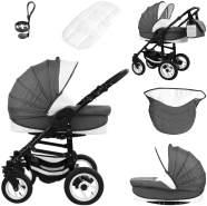 Bebebi Florenz | ISOFIX Basis & Autositz | 4 in 1 Kombi Kinderwagen | Hartgummireifen | Farbe: Marco Darkgrey Black